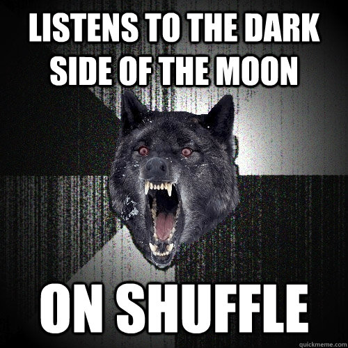 listens to the dark side of the moon on shuffle - Insanity Wolf