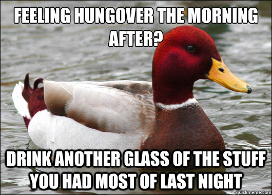 feeling hungover the morning after drink another glass of  - Malicious Advice Mallard