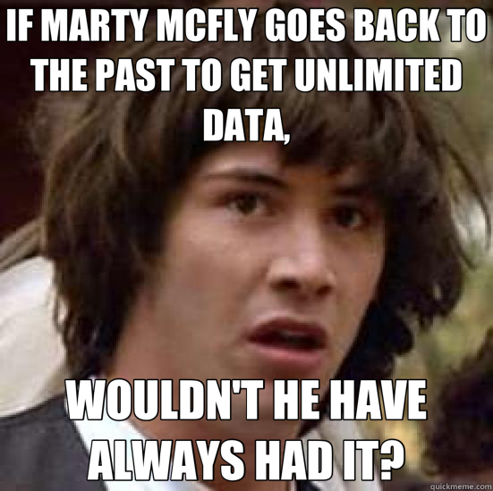 IF MARTY MCFLY GOES BACK TO THE PAST TO GET UNLIMITED DATA,  - conspiracy keanu