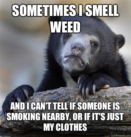 SOMETIMES I SMELL WEED AND I CANT TELL IF SOMEONE IS SMOKING - Confession Bear
