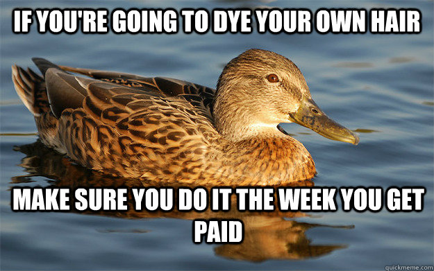 if youre going to dye your own hair make sure you do it the - Actual Female Advice Mallard