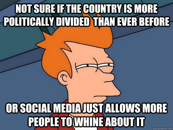 not sure if the country is more politically divided than ev - Futurama Fry