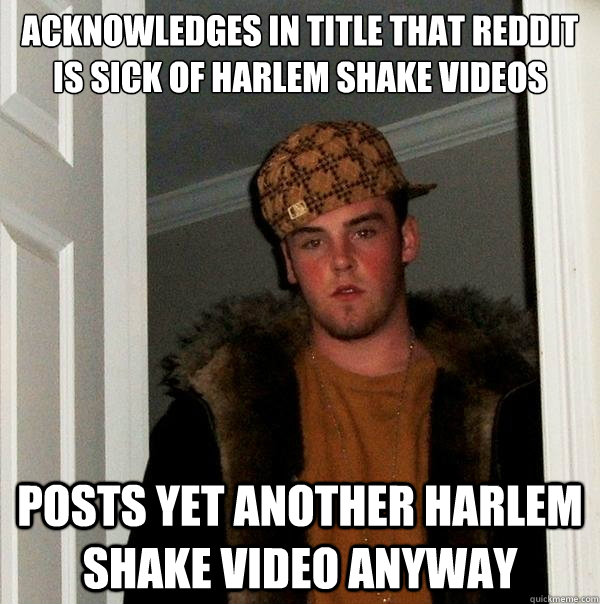 acknowledges in title that reddit is sick of harlem shake vi - Scumbag Steve