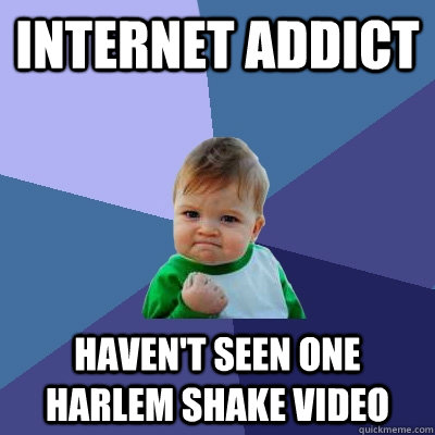 internet addict havent seen one harlem shake video - Success Kid