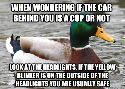 when wondering if the car behind you is a cop or not look at - Actual Advice Mallard