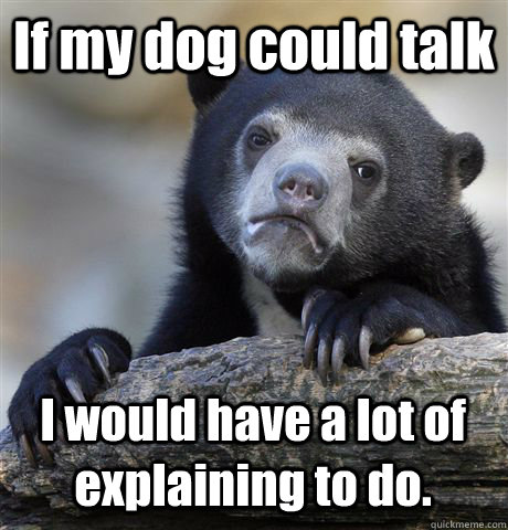 if my dog could talk i would have a lot of explaining to do - Confession Bear
