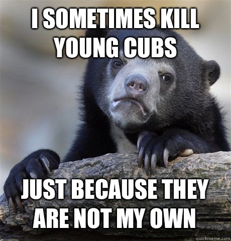 I sometimes kill young cubs Just because they are not my own - Confession Bear