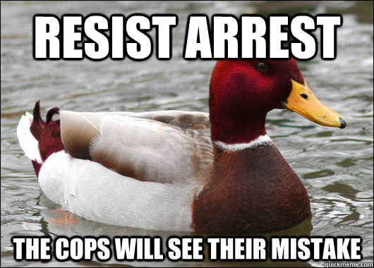 resist arrest the cops will see their mistake  - Malicious Advice Mallard