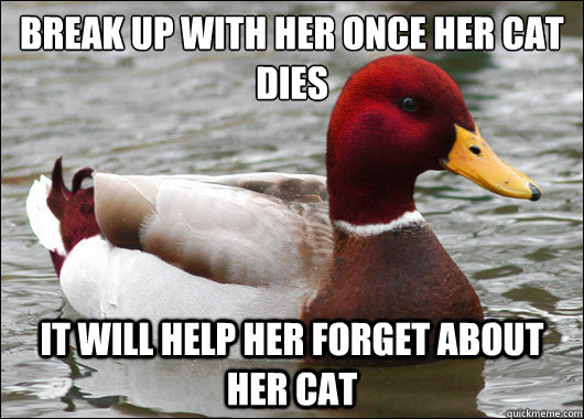 break up with her once her cat dies it will help her forget - Malicious Advice Mallard