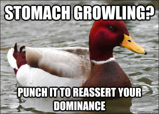 stomach growling punch it to reassert your dominance - Malicious Advice Mallard