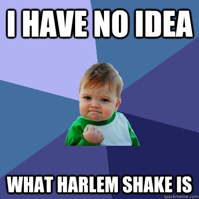 i have no idea what harlem shake is - Success Kid