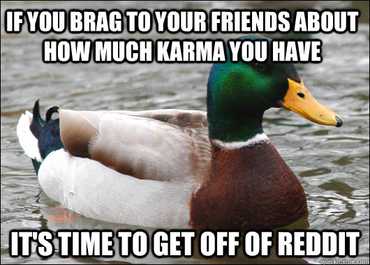 if you brag to your friends about how much karma you have it - Actual Advice Mallard