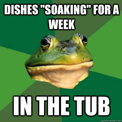 dishes soaking for a week in the tub - Foul Bachelor Frog