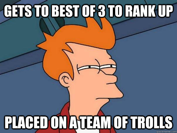 gets to best of 3 to rank up placed on a team of trolls - Futurama Fry