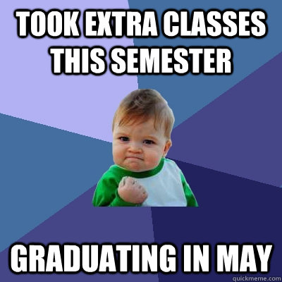 took extra classes this semester graduating in may - Success Kid