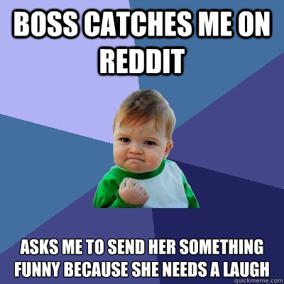 boss catches me on reddit asks me to send her something funn - Success Kid