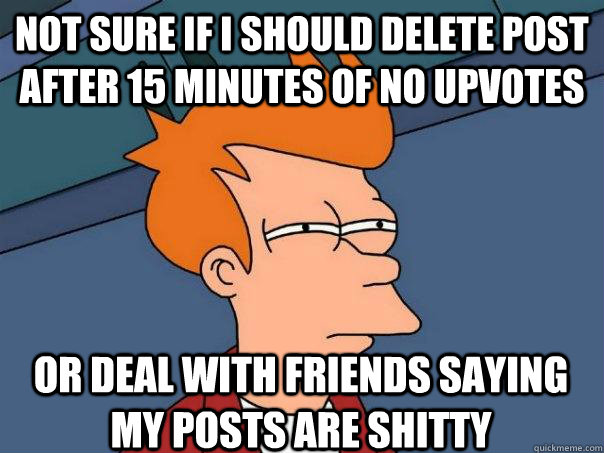 not sure if i should delete post after 15 minutes of no upvo - Futurama Fry