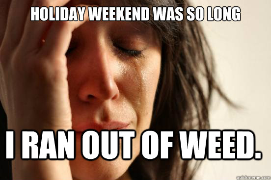 holiday weekend was so long i ran out of weed - FirstWorldProblems