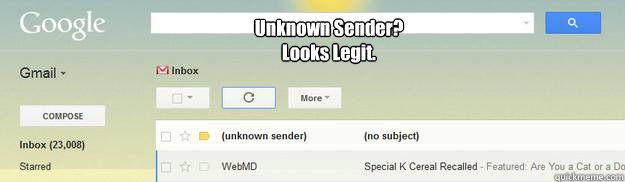 unknown sender looks legit -