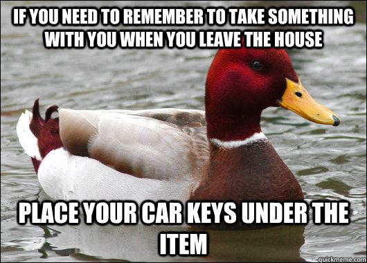 if you need to remember to take something with you when you  - Malicious Advice Mallard