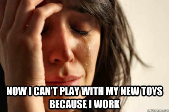 now i cant play with my new toys because i work - First World Problems