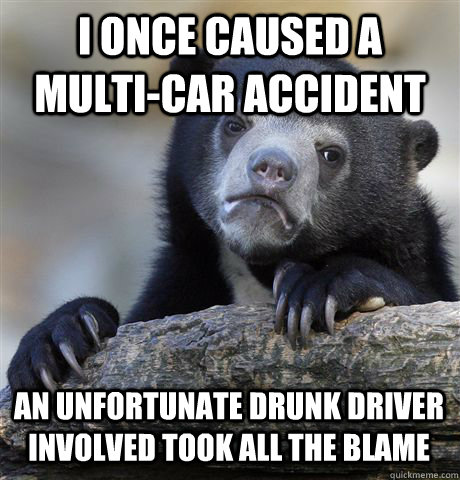 i once caused a multicar accident an unfortunate drunk driv - Confession Bear