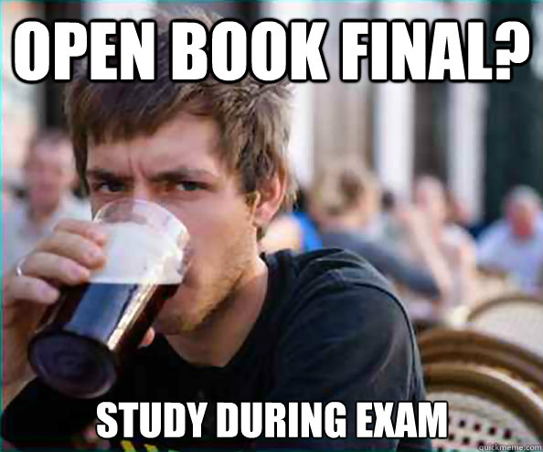 open book final study during exam - Lazy College Senior