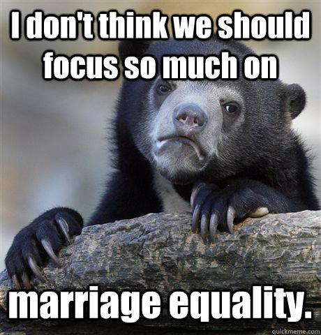 i dont think we should focus so much on marriage equality - Confession Bear