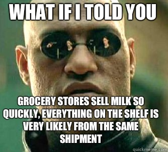 what if i told you Grocery stores sell milk so quickly every - Matrix Morpheus
