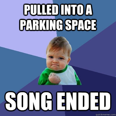 pulled into a parking space song ended - Success Kid