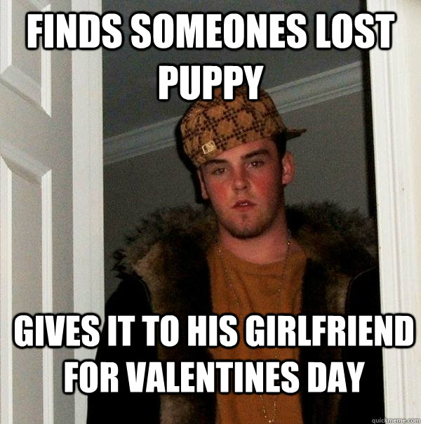 finds someones lost puppy gives it to his girlfriend for val - Scumbag Steve