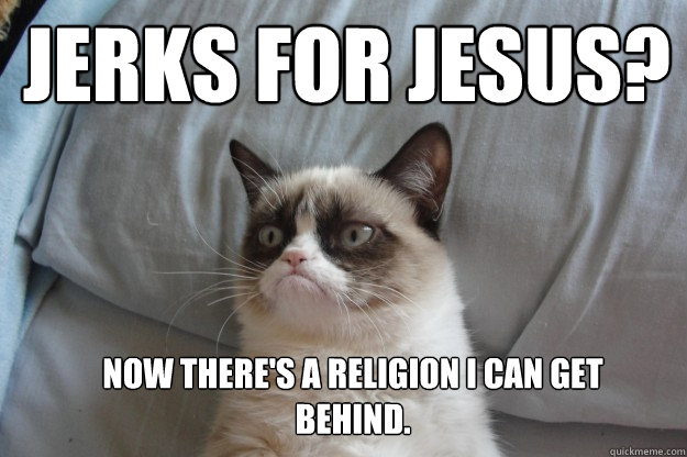 jerks for jesus now theres a religion i can get behind - GrumpyCatOL