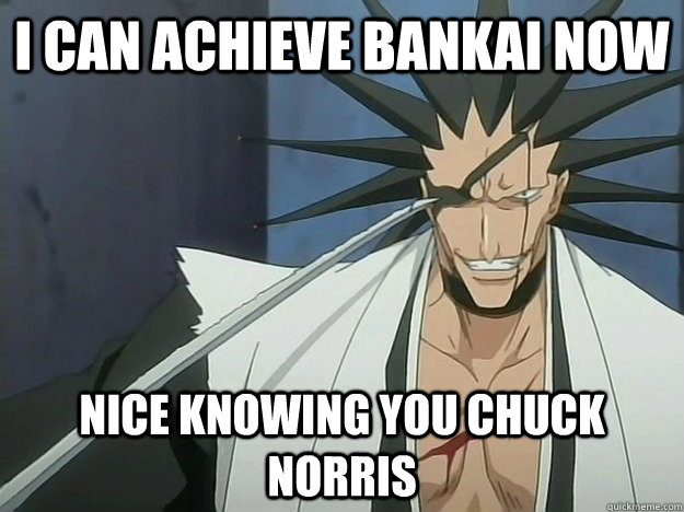 i can achieve bankai now nice knowing you chuck norris - Awesome Kenpachi