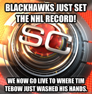blackhawks just set the nhl record we now go live to where  -