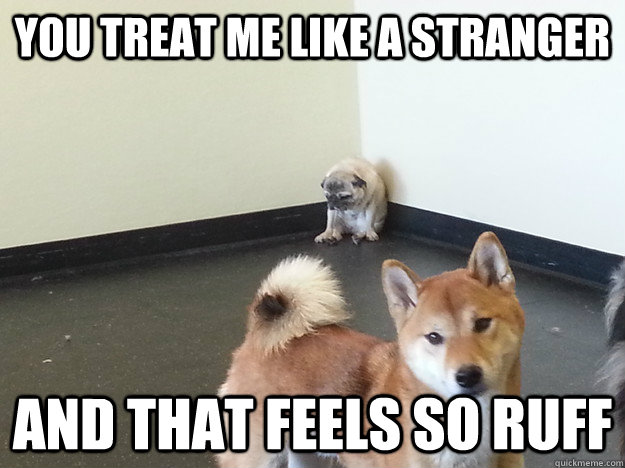 you treat me like a stranger and that feels so ruff -