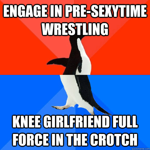 engage in presexytime wrestling knee girlfriend full force  - Socially Awesome Awkward Penguin