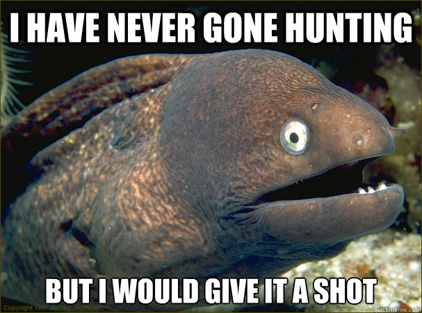 i have never gone hunting but i would give it a shot - Bad Joke Eel