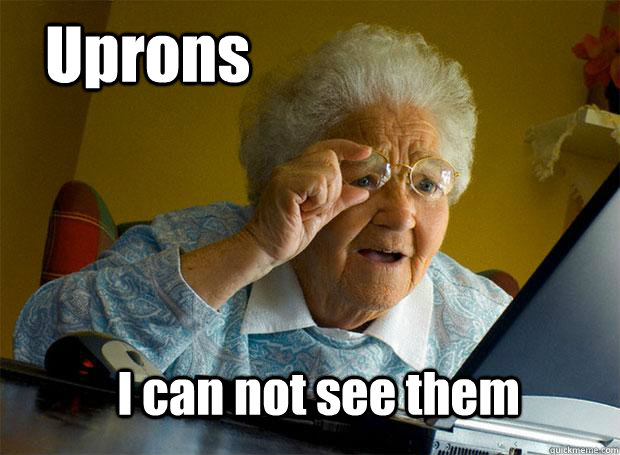 uprons i can not see them - Grandma finds the Internet