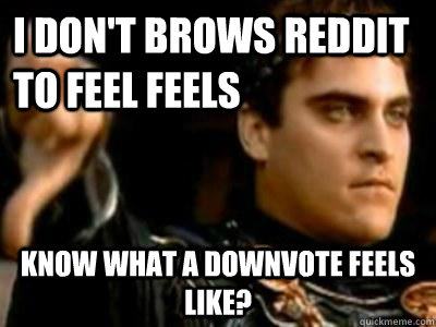 i dont brows reddit to feel feels know what a downvote feel - Downvoting Roman