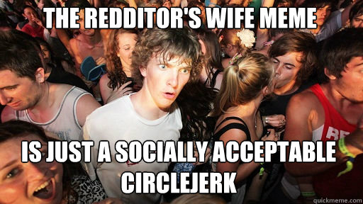 the redditors wife meme is just a socially acceptable circl - Sudden Clarity Clarence
