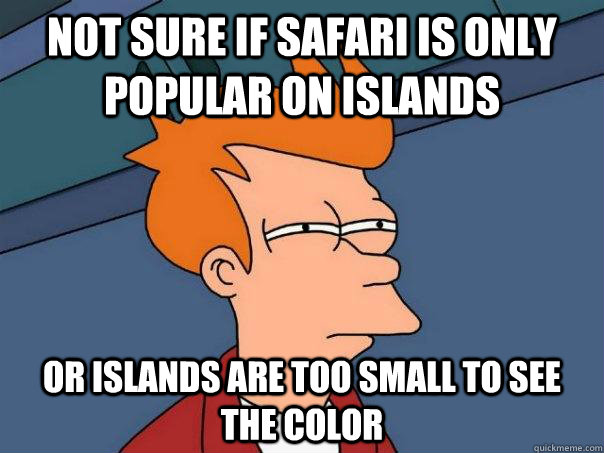 not sure if safari is only popular on islands or islands are - Futurama Fry