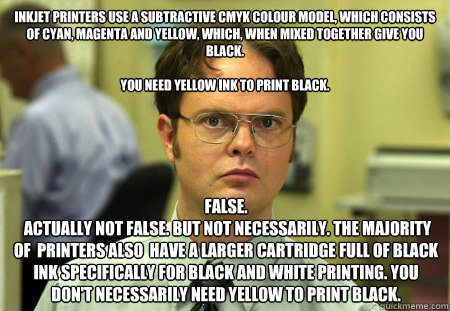 inkjet printers use a subtractive cmyk colour model which c - Dwight