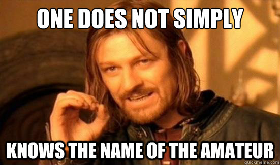 one does not simply knows the name of the amateur - Boromir