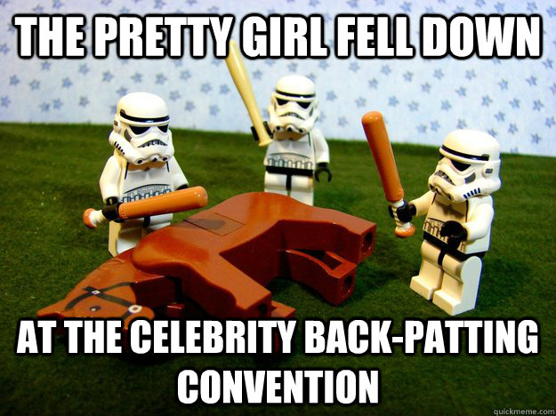 the pretty girl fell down at the celebrity backpatting conv - Hivemind Beating the Dead Horse