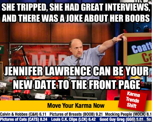 she tripped she had great interviews and there was a joke  - Mad Karma with Jim Cramer