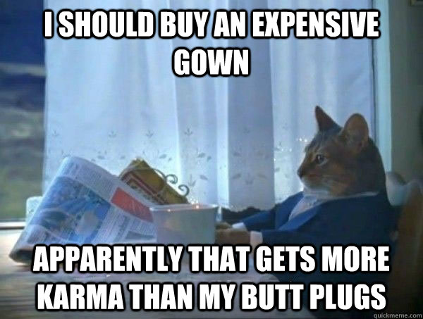 i should buy an expensive gown apparently that gets more kar - morning realization newspaper cat meme