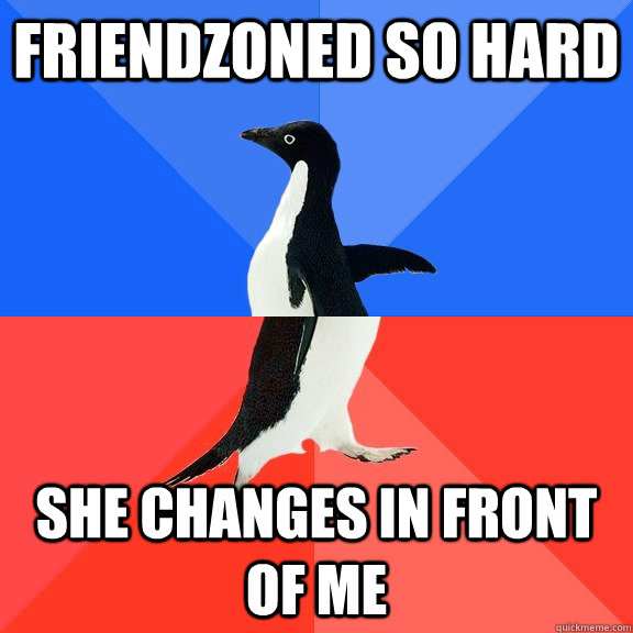 friendzoned so hard she changes in front of me - Socially Awkward Awesome Penguin