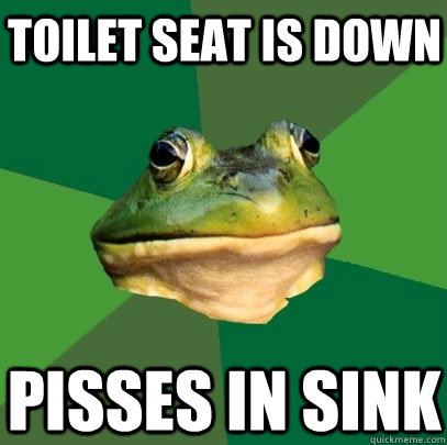toilet seat is down pisses in sink - Foul Bachelor Frog