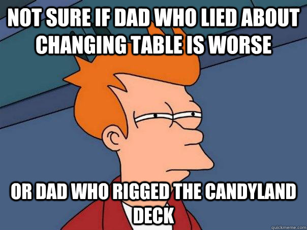 not sure if dad who lied about changing table is worse or da - Futurama Fry