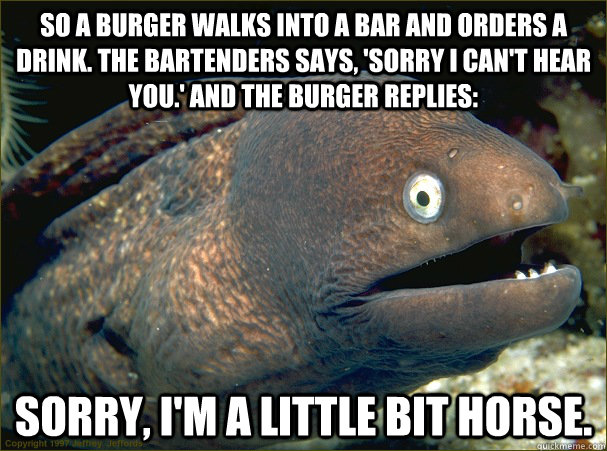 so a burger walks into a bar and orders a drink the bartend - Bad Joke Eel